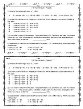 EnVision Math 2.0 4th Grade Exit Tickets Topic 3