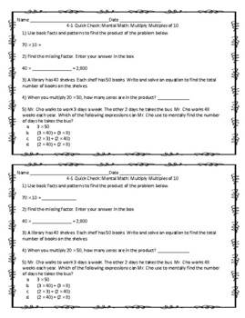 EnVision Math 2.0 4th Grade Exit Tickets Topic 4