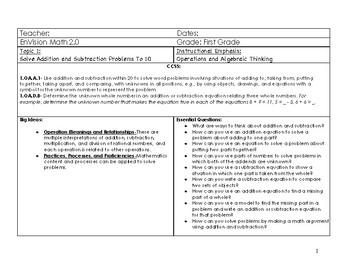 Editable EnVision Math 2.0 First Grade Topic 1