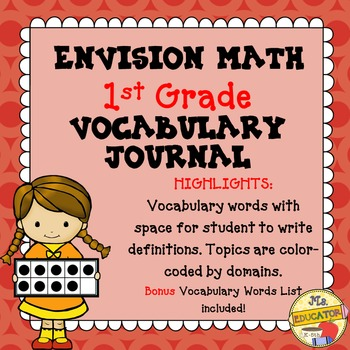 EnVision Math Common Core - 1st Grade Vocabulary Journal