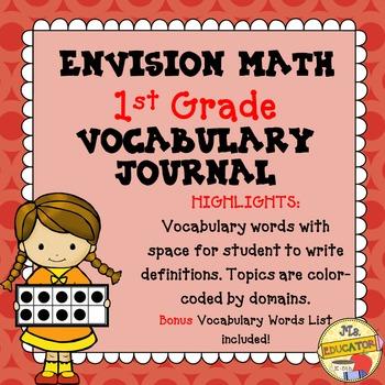 EnVision Math Common Core - 1st Grade Vocabulary Journal