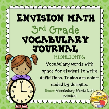 EnVision Math Common Core - 3rd Grade Vocabulary Journal