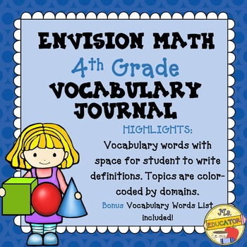 EnVision Math Common Core - 4th Grade Vocabulary Journal
