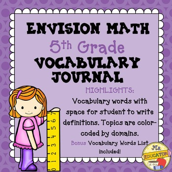 envision math common core 5th grade vocabulary journal by mseducator. Black Bedroom Furniture Sets. Home Design Ideas