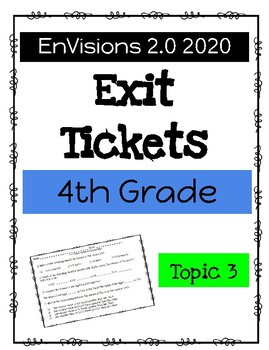 EnVision Math 2020 2.0 4th Grade Exit Tickets Growing Bundle Topics 1-16
