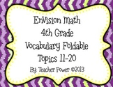 EnVision Math 4th Grade Vocabulary Foldable Topics 11-20