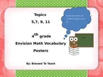 EnVision Math 4th grade vocabulary Topics 5-11 Owl Theme