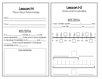 EnVision Math, 5th Grade, Topic 1 Interactive Notebook Pages