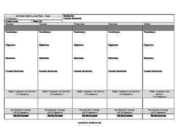 Common Core EnVision Math Editable Lesson Plan Format