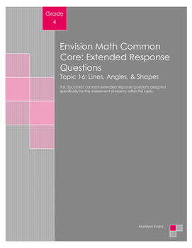 EnVision Math Extended Response Questions - Topic 16