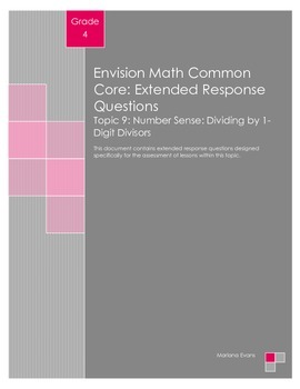 EnVision Math Extended Response Questions - Topic 9
