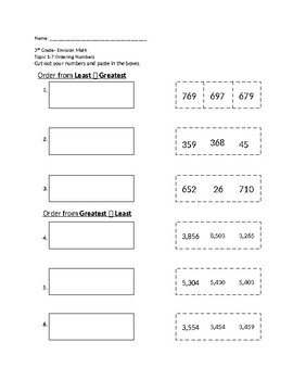 EnVision Math Grade 3- 1-3: Ordering Numbers