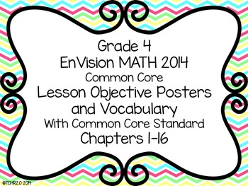EnVision Math Grade 4 Learning Objective Vocab Posters Chevron