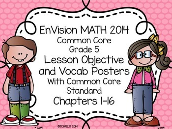 EnVision Math Grade 5 Learning Objective Vocab Posters Pin
