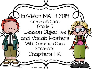 EnVision Math Grade 5 Learning Objective Vocab Posters Pri
