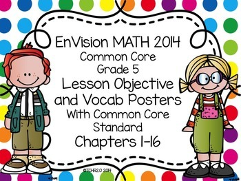 EnVision Math Grade 5 Learning Objective Vocab Posters Rai