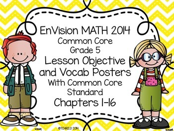 EnVision Math Grade 5 Learning Objective Vocab Posters Yel