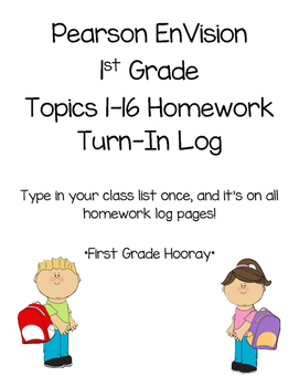EnVision Math Homework Log Checklist