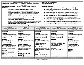 2012 Common Core EnVision Math Second Grade Topic 11 Unit Plan - 3 Digit + and -