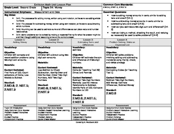 2012 Common Core EnVision Math Second Grade Topic 14 Unit Plan - Money
