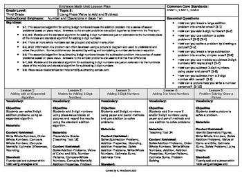 2012 Cm Core EnVision Math Third Grade Topic 3 Unit Plan- Place Value to + and -