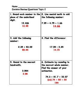 EnVision Math Topic 2 Review