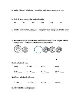 EnVision Math Topic 5 Counting Money Assessment