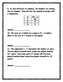 EnVision Math Topic 8 Review- Order of Operations, Expressions and Variables