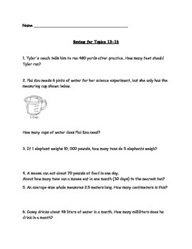 EnVision Math Topic Review 13-16 Grade 5