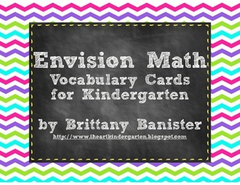 Colorful Chevron EnVision Math Vocabulary Cards for Kindergarten