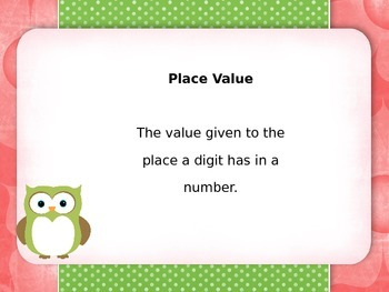 EnVision Math Vocabulary Posters 4th grade Owl Theme