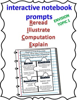 EnVision Topic 1 2nd grade R.I.C.E. Interactive Notebook