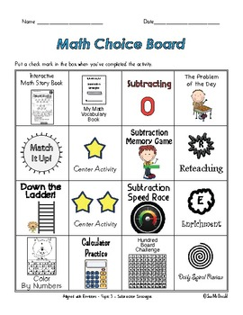 EnVision Math Centers -  Topic 3 - Subtraction Strategies - Grade 2