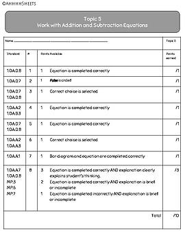 EnVisions 2.0 Grade 1 Topic 5 Rubric