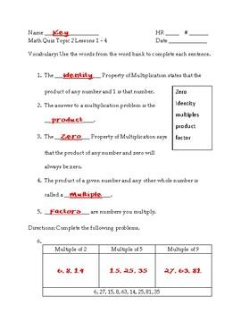 EnVisions 2.0 Grade 3 Topic 2 Quiz