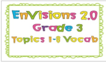 EnVisions 2.0 Grade 3 Topics 1-8 Vocabulary