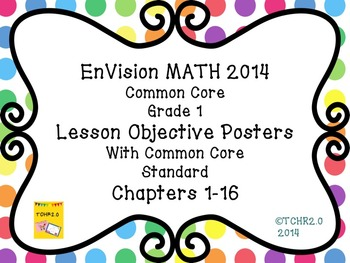 EnVision Math Grade 1 Learning Objective Vocab Posters Dots