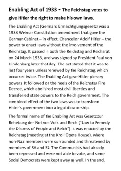 Enabling Act of 1933 Handout