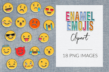 Enamel Emoji Clipart, Enamel Pin Set, Emojis Pins