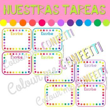 Encargados de clase Editables - Colour me Confetti