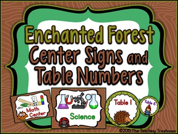 Enchanted Forest Center Signs & Table Numbers