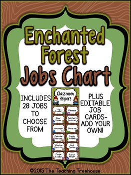 Enchanted Forest Classroom Helpers Clip Chart ~ Jobs Chart