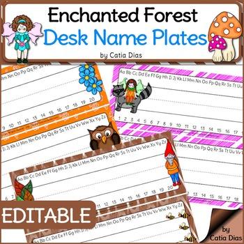 Enchanted Forest Classroom Theme - Editable Desk Name Plates