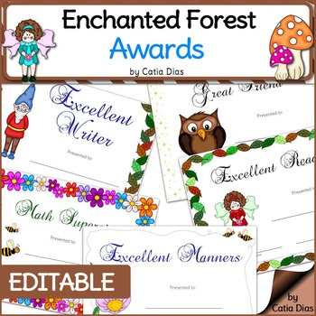 Enchanted Forest Classroom Theme - Student Awards -EDITABLE