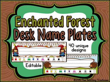 Enchanted Forest Editable Desk Name Plates