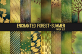 Enchanted Forest Summer 12x12 Printable Scrapbook Paper Texture Background