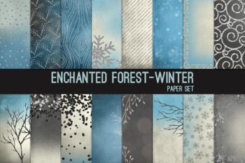 Enchanted Forest Winter 12x12 Printable Scrapbook Paper Texture Background