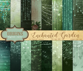 Enchanted Garden digital paper fantasy backgrounds fairy lights vintage textures