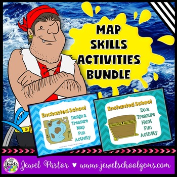 Map Skills Activities BUNDLE (Treasure Map and Treasure Hunt)