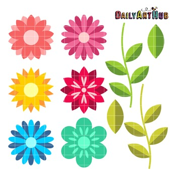 Enchanting Flowers Clip Art - Great for Art Class Projects!